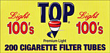 TOP CIGARETTE FILTER TUBES - LIGHT 100'S 200CT BOX