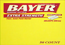 Bayer Extra Strength 50 Packets Of 2 Gelcaps