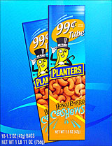 PLANTERS HONEY ROASTED CASHEWS 18/1.5OZ TUBES