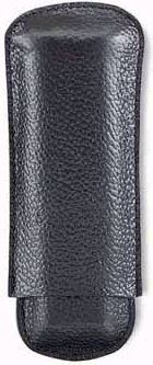 Black Leather Textured Cigar Case - Capacity: 2 Lonsdales 