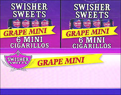 SWISHER SWEETS MINI CIGARILLOS - GRAPE 20/6 PKS