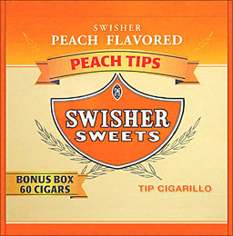 SWISHER SWEETS TIP CIGARILLO PEACH 60CT/BOX