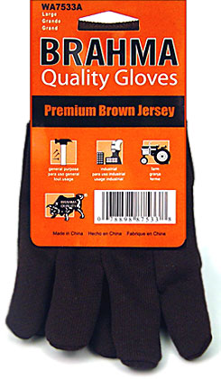 Brahma Brown Jersey Gloves