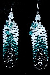 Black &amp; Teal Feather Earings 